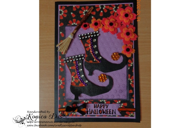 a blingy witch halloween card
